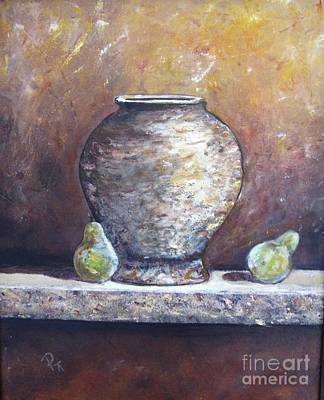 Vase And Pears Poster by Pat Craft