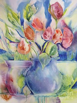 Vase And Tulips Poster by Donna Acheson-Juillet