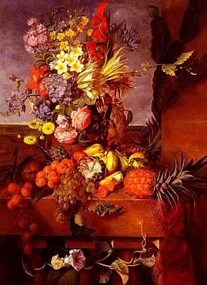 Poster featuring the painting Vase De Fleurs Et Fruits Exotique - Bourbon - 1854 by Emilie Bourbon
