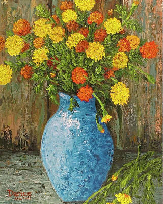 Vase Of Marigolds Poster
