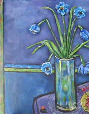 Vase With Blue Flowers And Cherries Poster by Chaline Ouellet