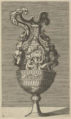 Vase With Two Winged Satyrs Poster by Frederick de Wit