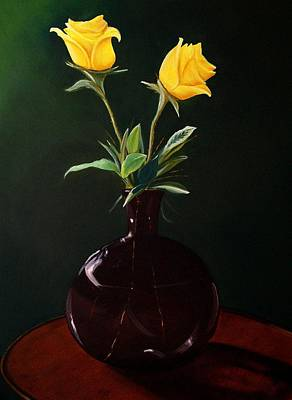 Vase With Yellow Roses Poster