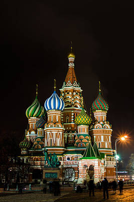 Vasily The Blessed Cathedral At Night - Featured 3 Poster by Alexander Senin
