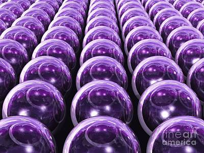 Vast Array Of 3d Transparent Orbs - Purple Version Poster