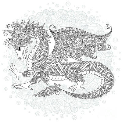 Vector Cartoon Dragon. Hand Drawn Poster