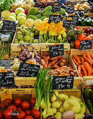 Veg At Marche Provencal Poster by Allen Sheffield