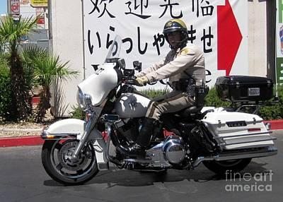 Vegas Motorcycle Cop Poster by John Malone