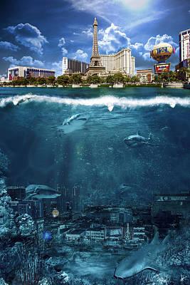 Las Vegas Sharks Poster by Nicholas  Grunas