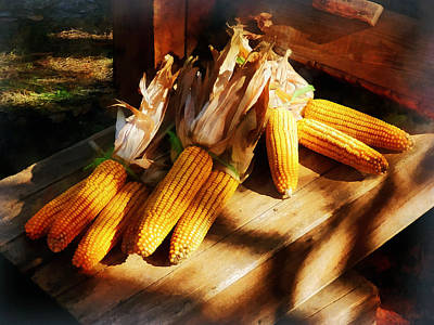 Vegetable - Corn On The Cob At Outdoor Market Poster by Susan Savad