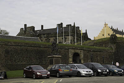 Vehicles At The Parking Lot Of Stirling Castle Poster by Ashish Agarwal