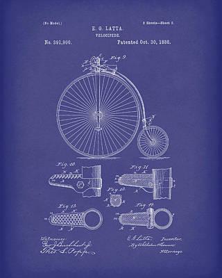 Velocipede Latta 1888 Patent Art Blue Poster