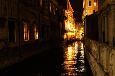 Poster featuring the photograph Venetian Golden Glow by Georgia Mizuleva