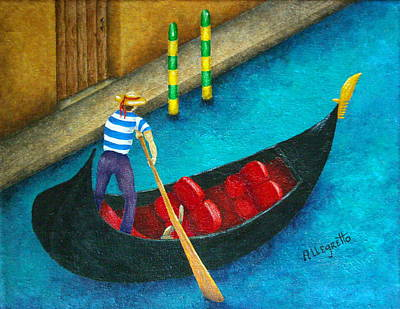 Venetian Gondolier Poster by Pamela Allegretto