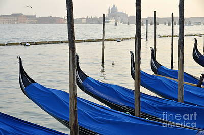 Venetian Lagoon And Moored Gondolas Poster by Sami Sarkis