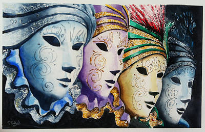 Poster featuring the painting Venetian Masks by Steven Ponsford