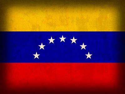 Venezuela Flag Distressed Vintage Finish Poster