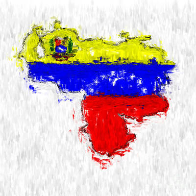 Venezuela Painted Flag Map Poster