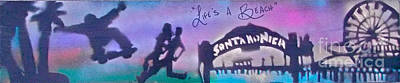 Venice Beach To Santa Monica  Purple Poster by Tony B Conscious