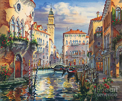 Venice Before Sunset Poster by Maria Rabinky