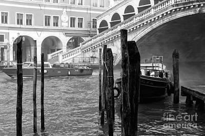 Venice Boats In The Morning Poster