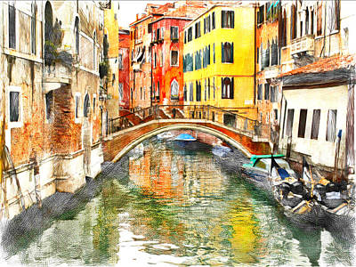 Venice Bridge And Canal Poster