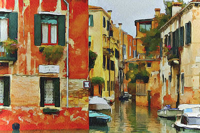 Venice Canals Watercolor 7 Poster by Yury Malkov