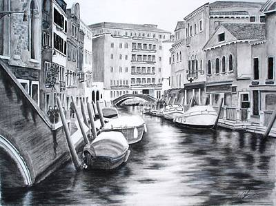 Poster featuring the drawing Venice City Of Love by Chris Fraser