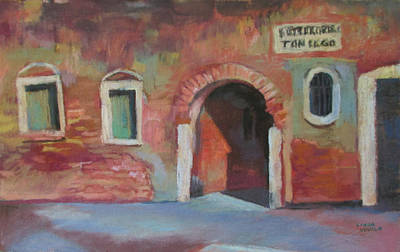 Poster featuring the painting Venice Doorway by Linda Novick