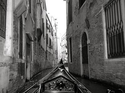 Venice Gondola Black And White Poster by Teresa Tilley