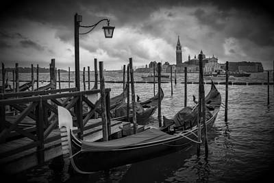 Venice Gondolas In Black And White Poster by Melanie Viola