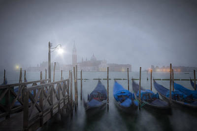 Venice Gondolas In The Mist Poster by Melanie Viola