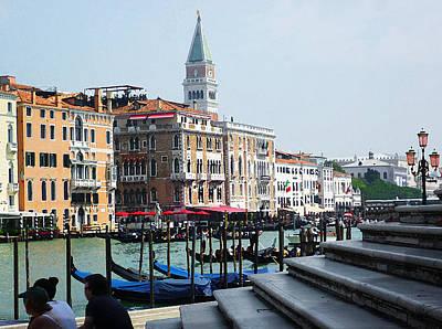 Venice Gondolas On Canal Grande Poster by Irina Sztukowski
