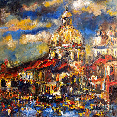 Venice Italy Sparkling At Sunset Poster by Ginette Callaway