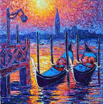 Venice Mysterious Light - Gondolas And San Giorgio Maggiore Seen From Plaza San Marco Poster