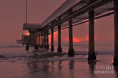 Venice Pier In Red Poster