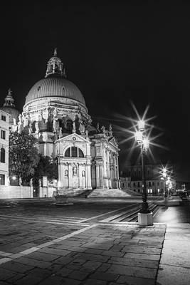 Venice Santa Maria Della Salute Black And White Poster