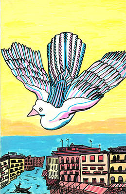 Poster featuring the drawing Venice Seagull by Don Koester