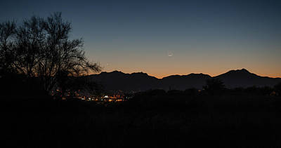 Poster featuring the photograph Venus And A Young Moon Over Tucson by Dan McManus