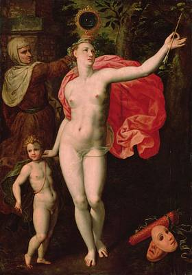 Venus And Cupid, Allegory Of The Truth Oil On Wood Poster by Jacques de Backer