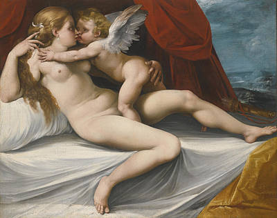 Venus And Cupid Poster by Giuseppe Cesari