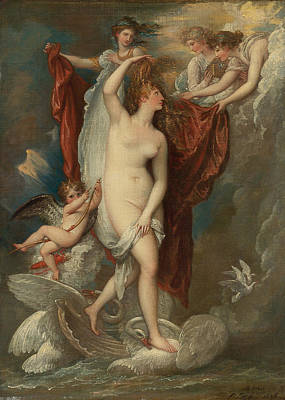 Venus At Her Birth Attired By The Three Graces Poster