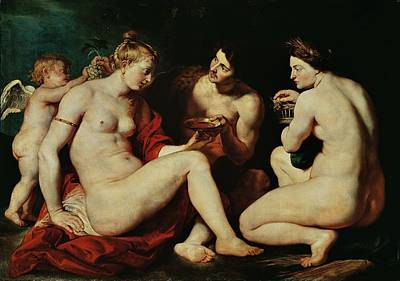 Venus, Cupid, Bacchus And Ceres Poster by Peter Paul Rubens