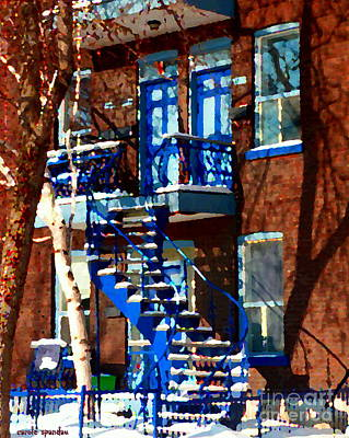 Verdun Duplex Stairs With Birch Tree Montreal Winding Staircases Winter City Scene Carole Spandau Poster