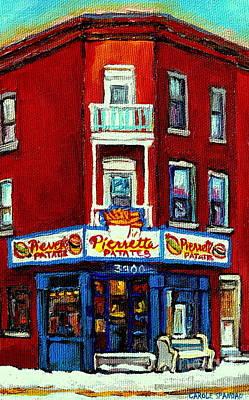 Verdun Landmarks Pierrette Patates Resto Cafe  Deli Hot Dog Joint- Historic Marquees -montreal Scene Poster by Carole Spandau