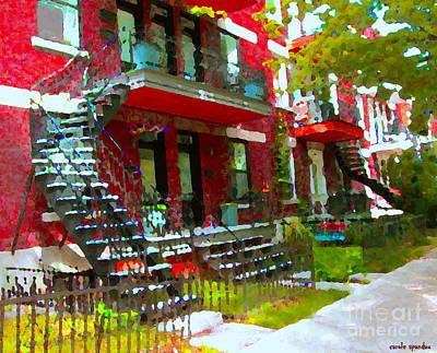 Verdun Spiral Staircases Sprawling Balconies Red Brick Duplex Triplex Montreal Scenes Carole Spandau Poster