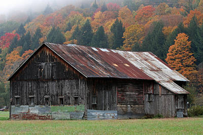 Vermont Barn And Fall Foliage   Poster by Juergen Roth