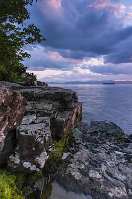 Vermont Lake Champlain Sunset Clouds Shoreline Poster