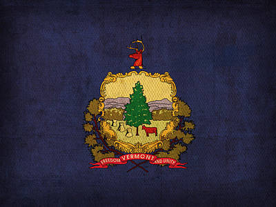 Vermont State Flag Art On Worn Canvas Poster