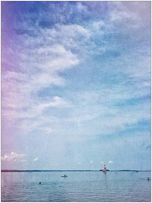 Vermont Summer Beach Boats Clouds Poster